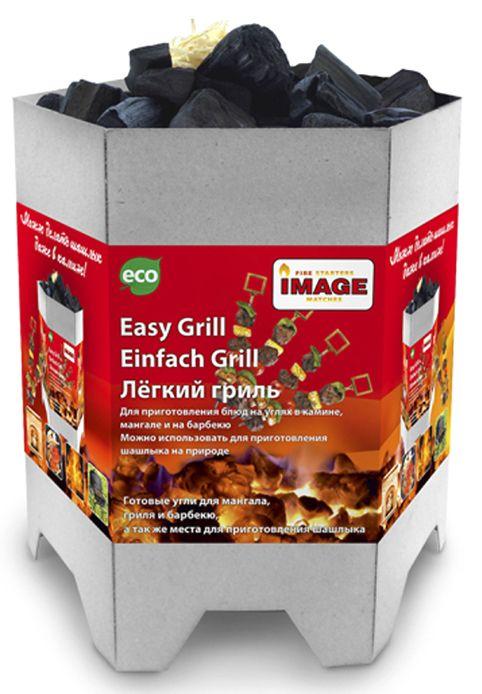 Гриль легкий Image Easy Grill40502Easy Grill - это лёгкий розжиг для мангала, гриля или барбекю, который используется для приготовления различных блюд. Easy Grill ставится в мангал, поджигается, а через 15-20 мин.горения после полной готовности упаковка прогорает и рассыпается, после чего готовые угли можно использовать. Состав: упаковка из картона, уголь, роллы для розжига, чиркаш, спички.