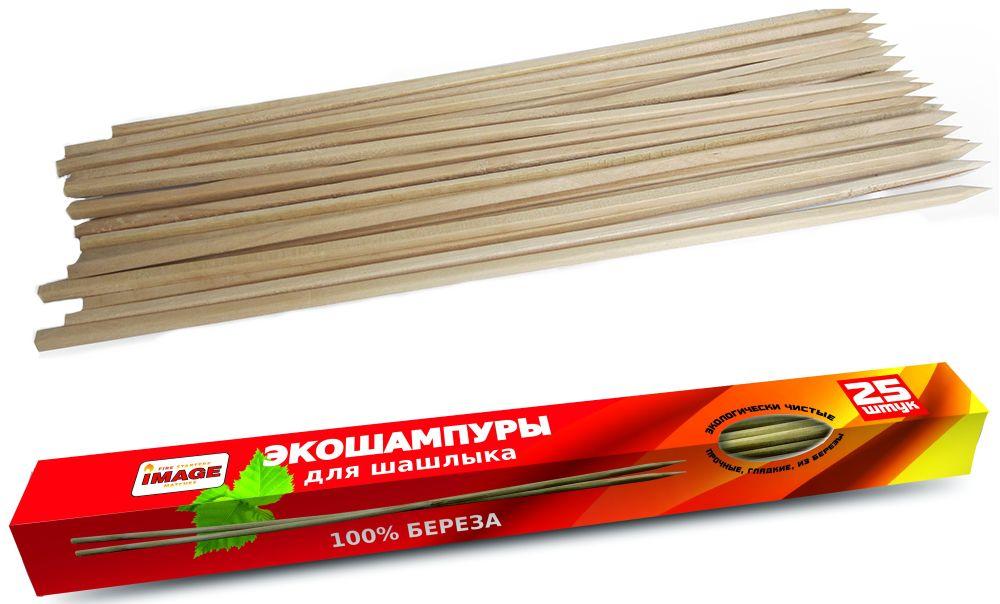 Набор шампуров Image, деревянные, 25 шт40748Экологически чистый продукт: после использования шампур можно сжечь или выбросить — он полностью разлагается в окружающей среде, не нанося ей вреда. Шампуры изготовлены из качественной берёзовой древесины, которая не выделяет смолу. Они не прогибаются под тяжестью мяса. Выдерживает нагрев до 330-ти градусов. Упаковка картонная коробка: 405 х 35 х 35 мм.