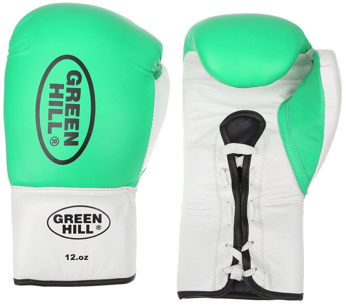 Перчатки боксерские Green Hill Proffi, цвет: зеленый, белый, черный. Вес 12 унций. BGP-2014BGP-2014Боксерские перчатки Green Hill Proffi предназначены для использования профессионалами. Верх выполнен из натуральной кожи, наполнитель - из вспененного полимера. Отверстие в области ладони позволяет создать максимально комфортный терморежим во время занятий. Манжет на шнуровке способствует быстрому и удобному надеванию перчаток, плотно фиксирует перчатки на руке.