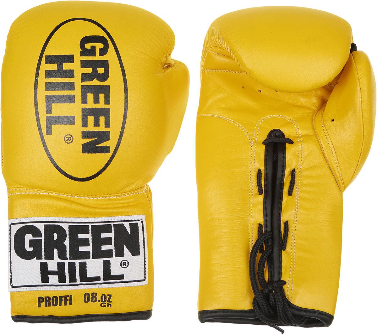 Перчатки боксерские Green Hill Proffi, цвет: желтый, черный. Вес 8 унций. BGP-2014BGP-2014Боксерские перчатки Green Hill Proffi предназначены для использования профессионалами. Верх выполнен из натуральной кожи, наполнитель - из вспененного полимера. Отверстие в области ладони позволяет создать максимально комфортный терморежим во время занятий. Манжет на шнуровке способствует быстрому и удобному надеванию перчаток, плотно фиксирует перчатки на руке.