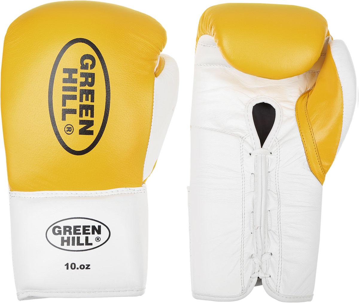 Перчатки боксерские Green Hill Proffi, цвет: желтый, черный, белый. Вес 10 унций. BGP-2014BGP-2014Боксерские перчатки Green Hill Proffi предназначены для использования профессионалами. Верх выполнен из натуральной кожи, наполнитель - из вспененного полимера. Отверстие в области ладони позволяет создать максимально комфортный терморежим во время занятий. Манжет на шнуровке способствует быстрому и удобному надеванию перчаток, плотно фиксирует перчатки на руке.