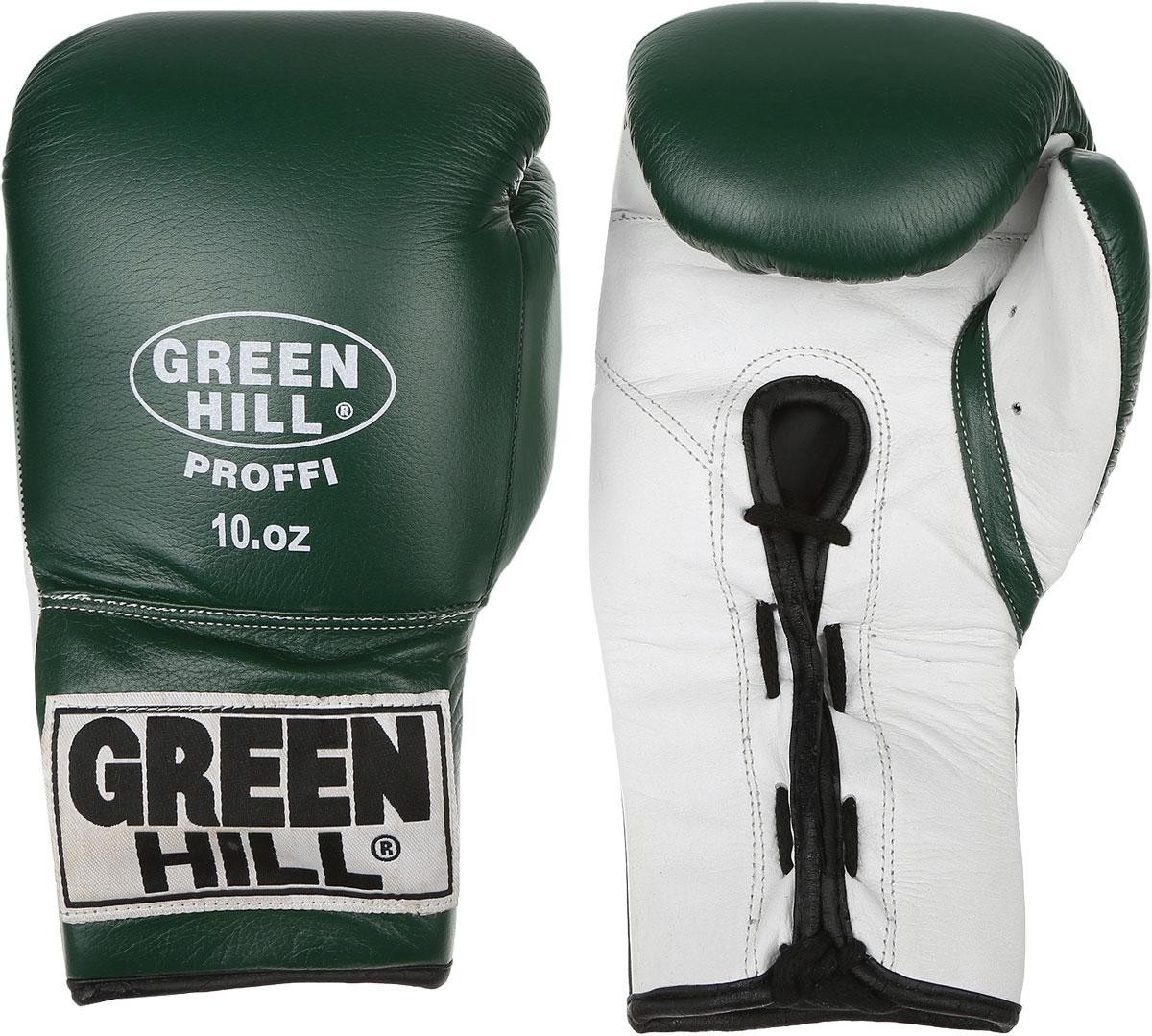 Перчатки боксерские Green Hill Proffi, цвет: зеленый, белый. Вес 10 унций. BGP-2014BGP-2014Боксерские перчатки Green Hill Proffi предназначены для использования профессионалами. Верх выполнен из натуральной кожи, наполнитель - из вспененного полимера. Отверстие в области ладони позволяет создать максимально комфортный терморежим во время занятий. Манжет на шнуровке способствует быстрому и удобному надеванию перчаток, плотно фиксирует перчатки на руке.