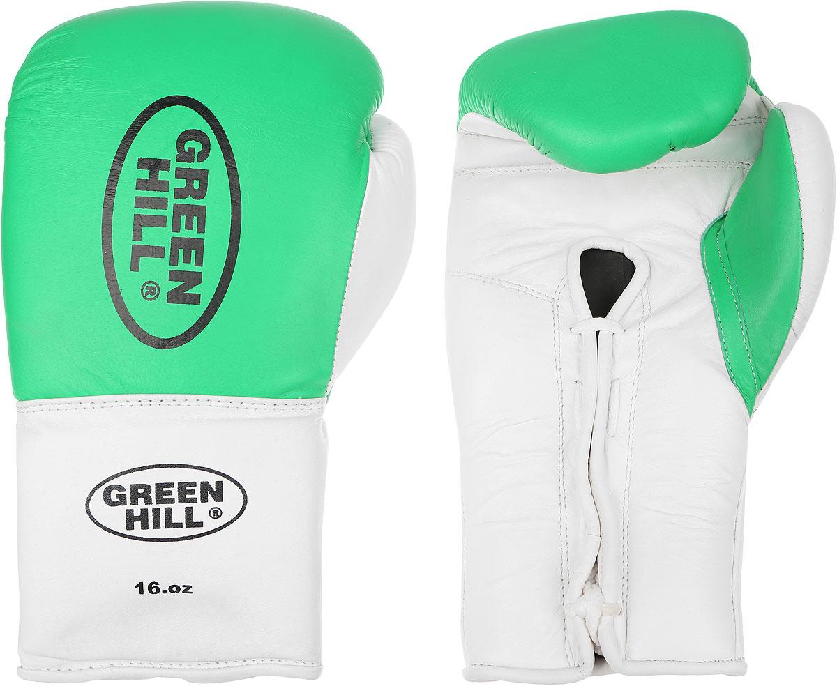 Перчатки боксерские Green Hill Proffi, цвет: зеленый, белый, черный. Вес 16 унций. BGP-2014BGP-2014Боксерские перчатки Green Hill Proffi предназначены для использования профессионалами. Верх выполнен из натуральной кожи, наполнитель - из вспененного полимера. Отверстие в области ладони позволяет создать максимально комфортный терморежим во время занятий. Манжет на шнуровке способствует быстрому и удобному надеванию перчаток, плотно фиксирует перчатки на руке.