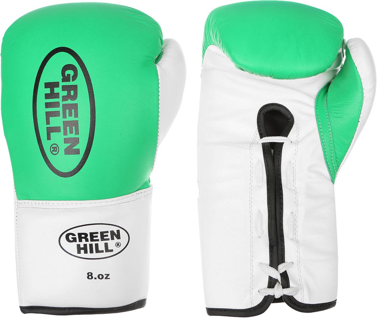 Перчатки боксерские Green Hill Proffi, цвет: зеленый, белый, черный. Вес 8 унций. BGP-2014BGP-2014Боксерские перчатки Green Hill Proffi предназначены для использования профессионалами. Верх выполнен из натуральной кожи, наполнитель - из вспененного полимера. Отверстие в области ладони позволяет создать максимально комфортный терморежим во время занятий. Манжет на шнуровке способствует быстрому и удобному надеванию перчаток, плотно фиксирует перчатки на руке.