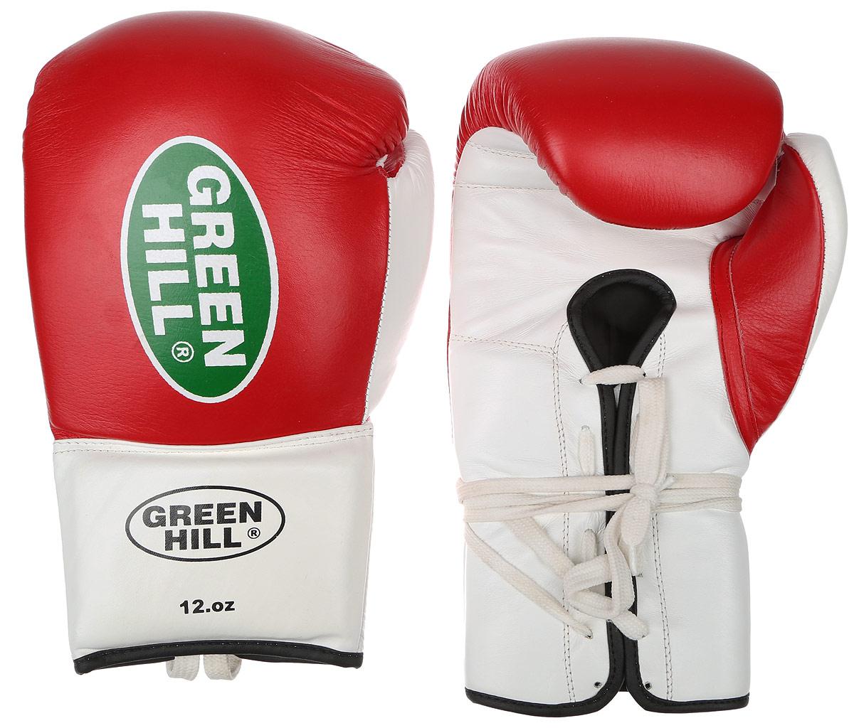 Перчатки боксерские Green Hill Proffi, цвет: красный, белый. Вес 12 унций. BGP-2014BGP-2014Боксерские перчатки Green Hill Proffi предназначены для использования профессионалами. Верх выполнен из натуральной кожи, наполнитель - из вспененного полимера. Отверстие в области ладони позволяет создать максимально комфортный терморежим во время занятий. Манжет на шнуровке способствует быстрому и удобному надеванию перчаток, плотно фиксирует перчатки на руке.