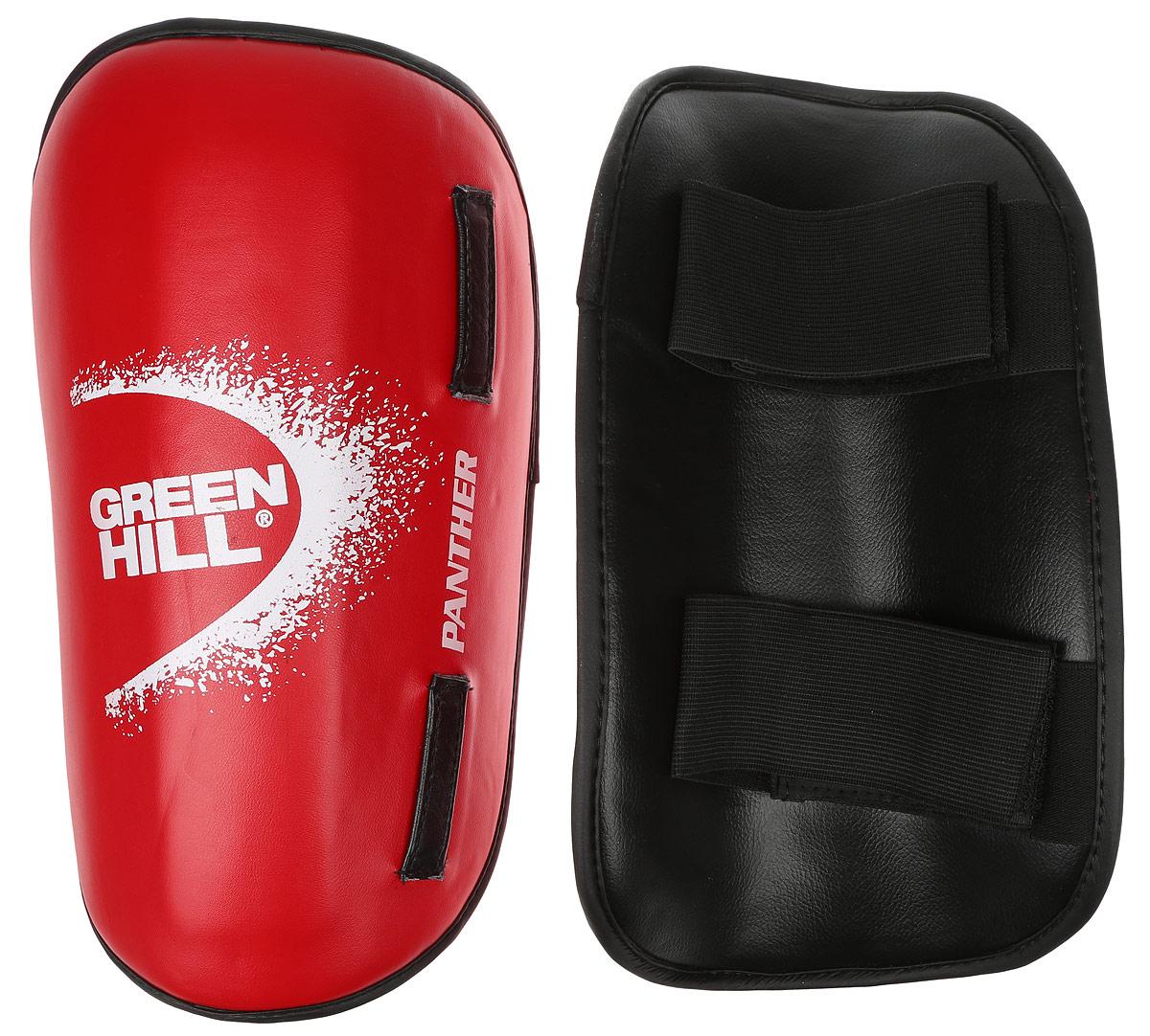 Защита голени Green Hill Panther, цвет: красный, белый. Размер S. SPP-2124SPP-2124Защита голени Green Hill Panther с наполнителем, выполненным из вспененного полимера, необходима при занятиях спортом для защиты суставов от вывихов, ушибов и прочих повреждений. Накладки выполнены из высококачественной искусственной кожи. Закрепляются на ноге при помощи эластичных лент и липучек. Длина голени: 30 см. Ширина голени: 15 см.