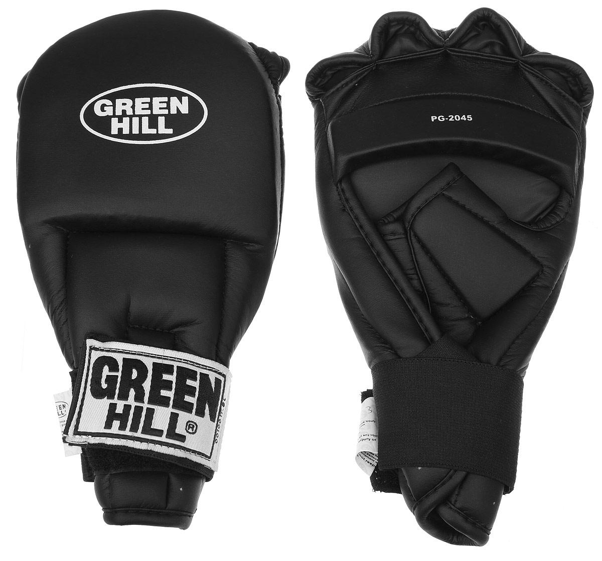 Перчатки для рукопашного боя Green Hill, цвет: черный. Размер L. PG-2045PG-2045Перчатки для рукопашного боя Green Hill произведены из высококачественной искусственной кожи. Подойдут для занятий кунг-фу. Конструкция предусматривает открытые пальцы - необходимый атрибут для проведения захватов. Манжеты на липучках позволяют быстро снимать и надевать перчатки без каких-либо неудобств. Анатомическая посадка предохраняет руки от повреждений.