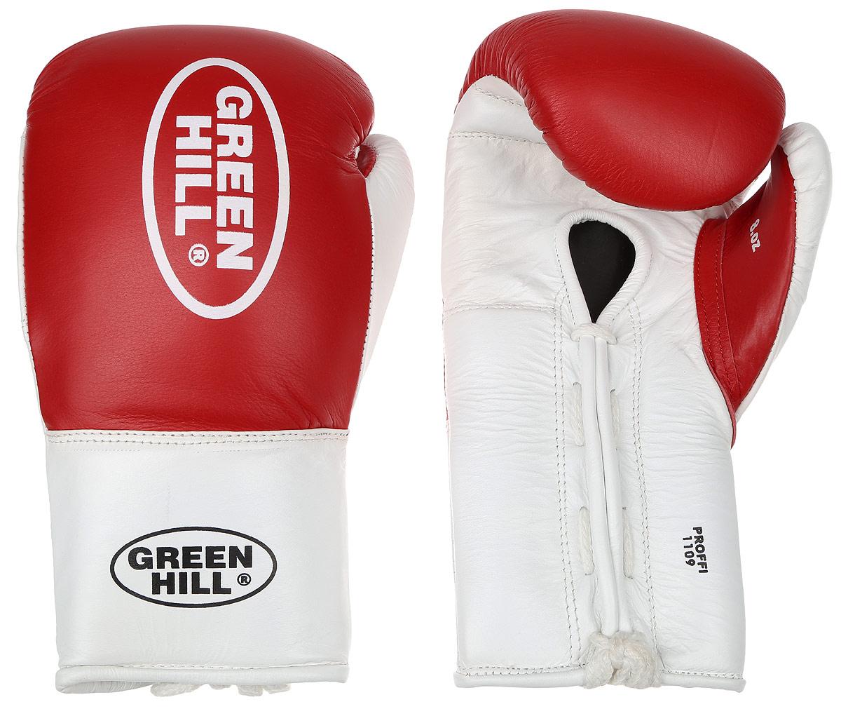 Перчатки боксерские Green Hill Proffi, цвет: красный, белый. Вес 8 унций. BGP-2014BGP-2014Боксерские перчатки Green Hill Proffi предназначены для использования профессионалами. Верх выполнен из натуральной кожи, наполнитель - из вспененного полимера. Отверстие в области ладони позволяет создать максимально комфортный терморежим во время занятий. Манжет на шнуровке способствует быстрому и удобному надеванию перчаток, плотно фиксирует перчатки на руке.
