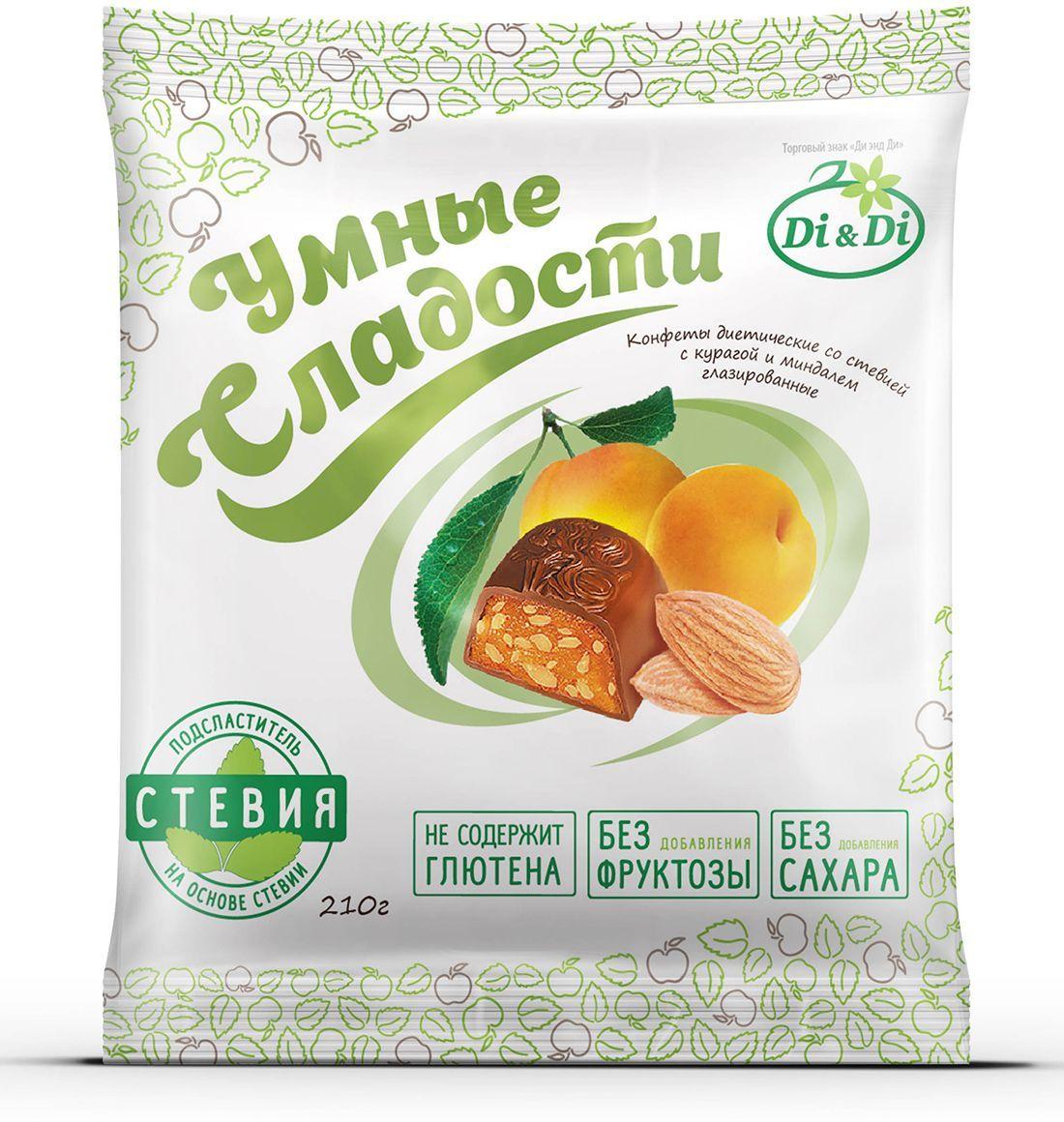 Умные сладости конфеты Курага с миндалем в шоколадной глазури, 210 г