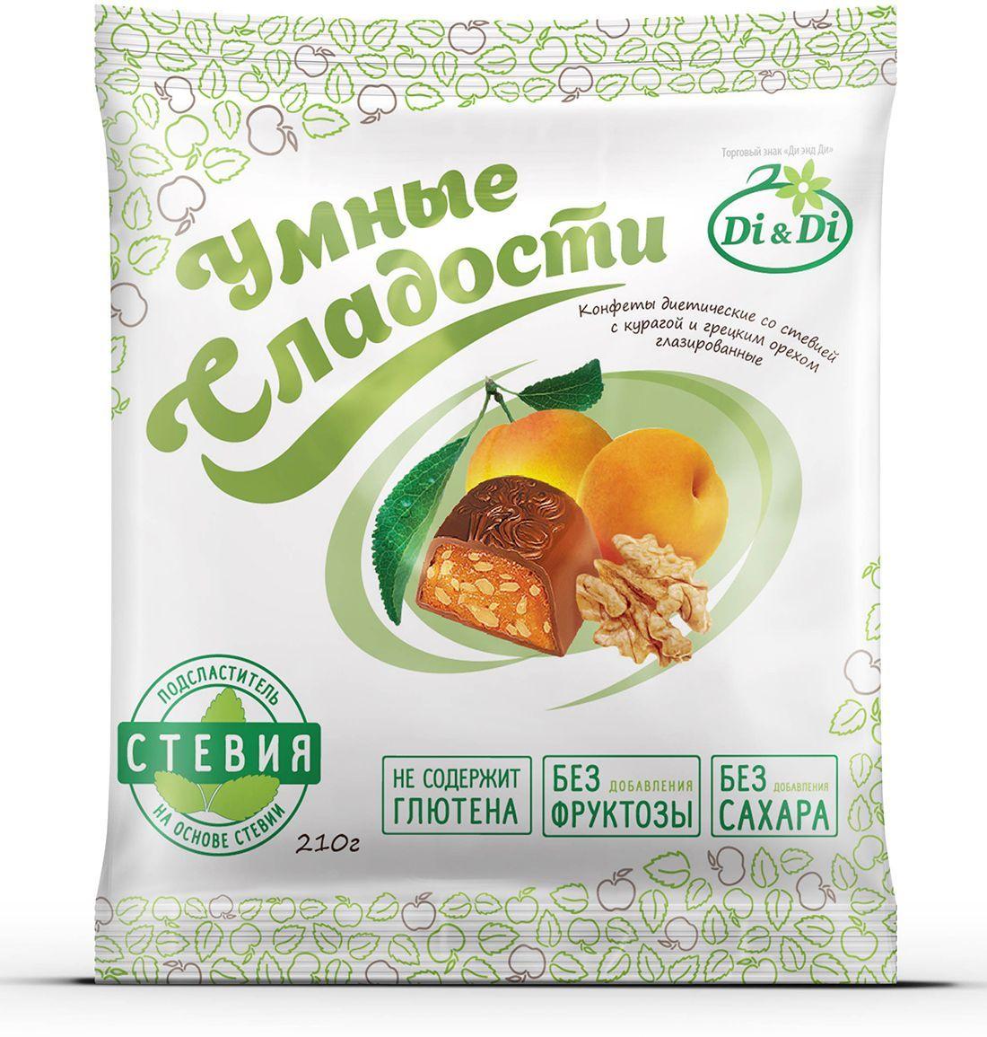 Умные сладости конфеты Курага с грецким орехом в шоколадной глазури, 210 г 4650061331580