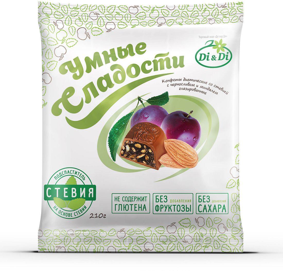Умные сладости конфеты Чернослив с миндалем в шоколадной глазури, 210 г