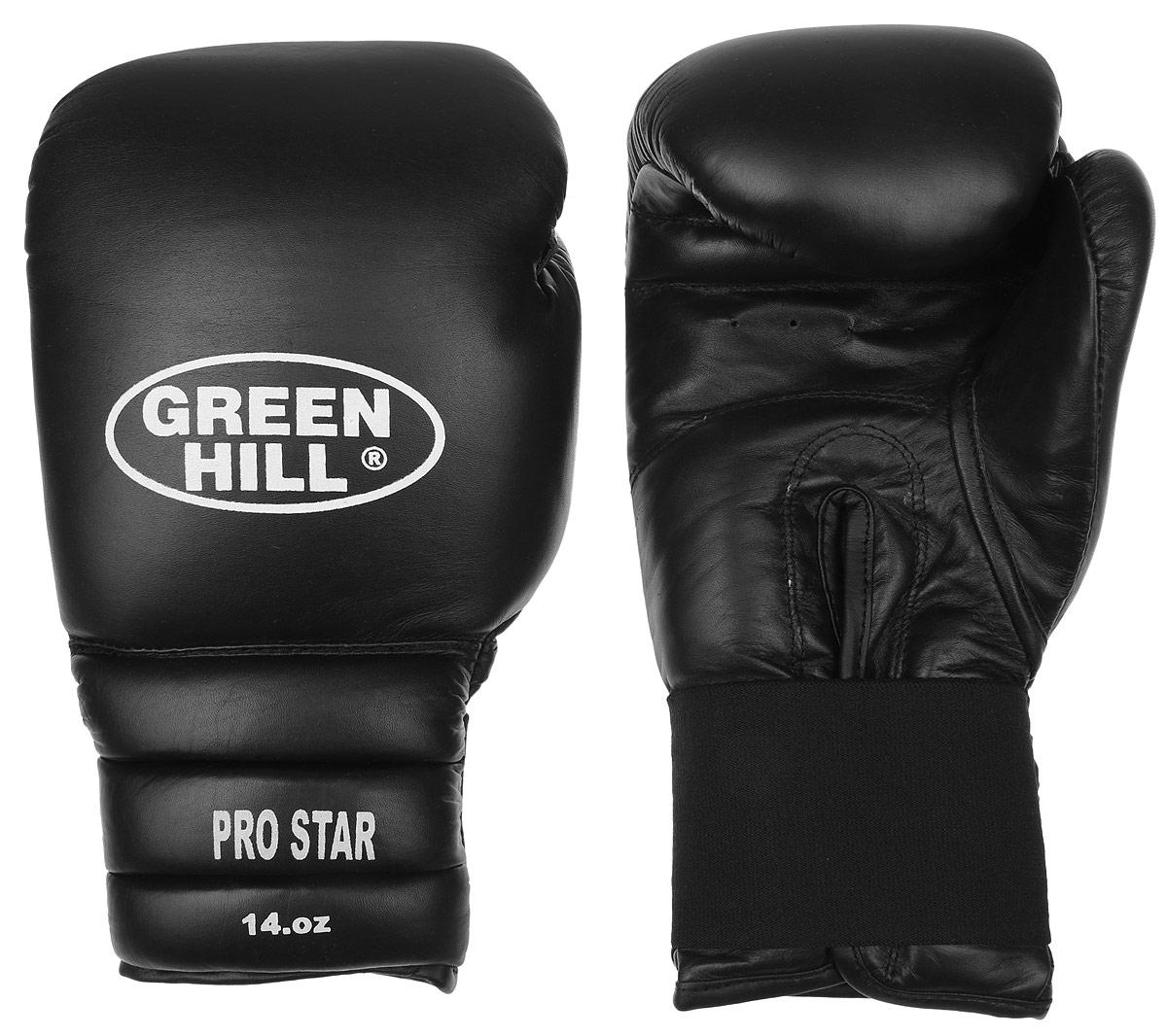 Перчатки боксерские Green Hill Pro Star, цвет: черный, белый. Вес 14 унций. BGPS-2012BGPS-2012Тренировочные боксерские перчатки Green Hill Pro Star отлично подойдут для спаррингов. Верх выполнен из натуральной кожи, наполнитель - из вспененного полимера. Отверстие в области ладони позволяет создать максимально комфортный терморежим во время занятий. Удлиненный сегментированный манжет способствует быстрому и удобному надеванию перчаток, плотно фиксирует их на руке.