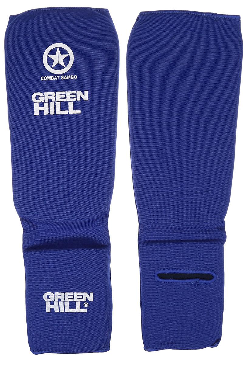 Защита голени и стопы Green Hill Combat Sambo, цвет: синий, белый. Размер XL. SC-61312SC-61312XLЗащита голени и стопы Green Hill Combat Sambo с наполнителем, выполненным из вспененного полимера, необходима при занятиях спортом для защиты пальцев и суставов от вывихов, ушибов и прочих повреждений. Накладки выполнены из высококачественного полиэстера и хлопка. Длина голени: 29 см. Ширина голени: 15,5 см. Длина стопы: 15,5 см. Ширина стопы: 12 см.