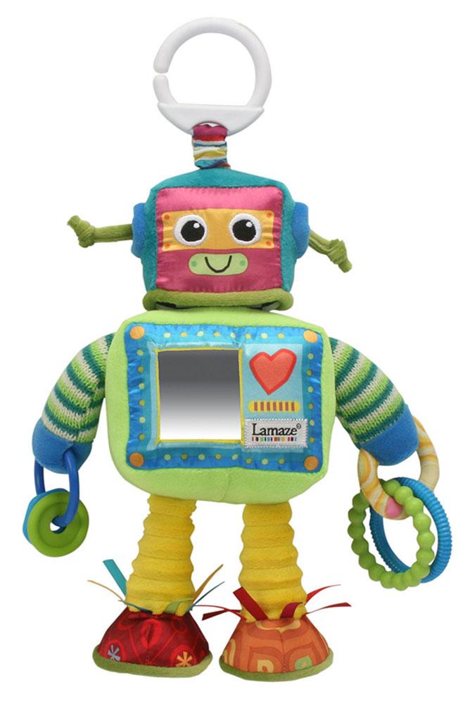 Tomy Игрушка-подвеска Робот РастиLC27089Игрушка-подвеска Tomy Робот Расти обязательно понравится вашему малышу. Изготовлена игрушка из высококачественных и безопасных материалов. Выполнена в виде забавного робота с безопасным зеркальцем на лицевой стороне, которое поможет малышу в познании себя и окружающего мира. У робота вращающая двухсторонняя голова с трещоткой (можно менять лицо робота). В обеих руках робот держит кольца, которые весело гремят. Игрушка имеет сверху пластиковое незамкнутое кольцо, за которое можно подвешивать игрушку к кроватке, коляске или манежу, также за них можно присоединить любые другие игрушки. Мягкая игрушка-подвеска Робот Расти способствует развитию мелкой моторики, сенсорному и цветовому восприятию.