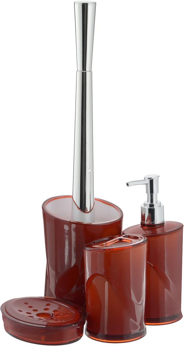 Набор для ванной комнаты Indecor, цвет: терракотовый, 4 предмета. IND039IND039cНабор для ванной комнаты Indecor состоит из стакана для зубных щеток, дозатора для жидкого мыла, мыльницы и ершика. Стакан, дозатор, мыльница и ершик изготовлены из высококачественного пластика. Аксессуары, входящие в набор Indecor, выполняют не только практическую, но и декоративную функцию. Они способны внести в помещение изысканность, сделать пребывание в нем приятным и даже незабываемым. Размер стакана для зубных щеток: 7 х 7 х 11 см. Объем стакана: 300 мл. Размер дозатора: 7 х 7 х 17,5 см. Объем дозатора: 300 мл. Размер мыльницы: 11,5 х 9 х 3 см. Длина ершика (с ручкой): 35 см. Размер подставки: 9,5 х 9,5 х 13 см.