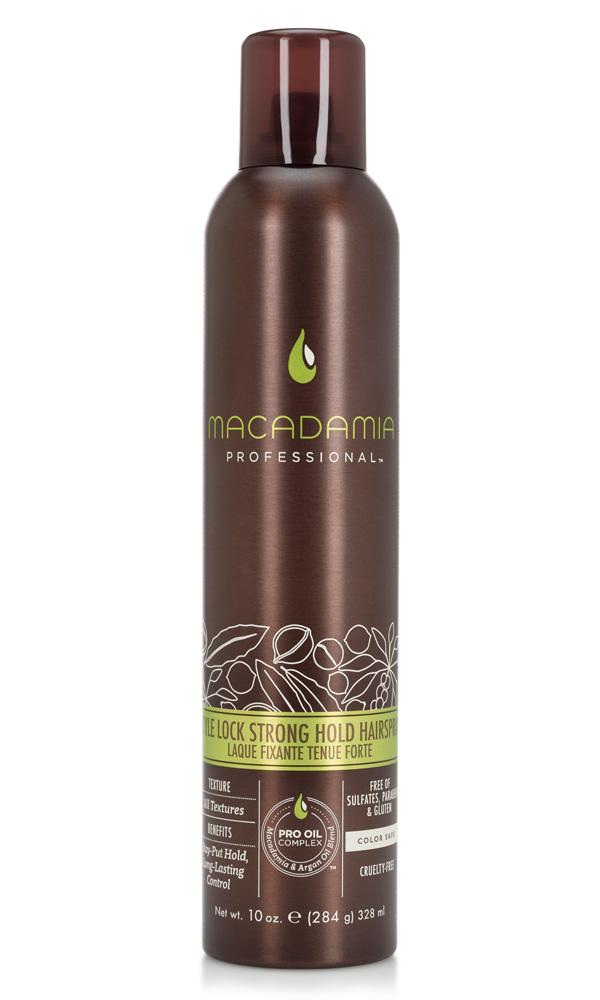 Macadamia Professional Спрей сильной фиксации Стиль на замке, 300 мл500105Невесомый спрей сильной фиксации Macadamia Professional с витамином В5 специально разработан для сохранения укладки на целый день, контролирует пушистость и сохранение формы. Эксклюзивный Pro Oil Complex на основе драгоценных масел макадамии и арганы увлажняет, восстанавливает, добавляет волосам здоровый блеск, упругость и управляемость, сохраняет цвет окрашенных волос.