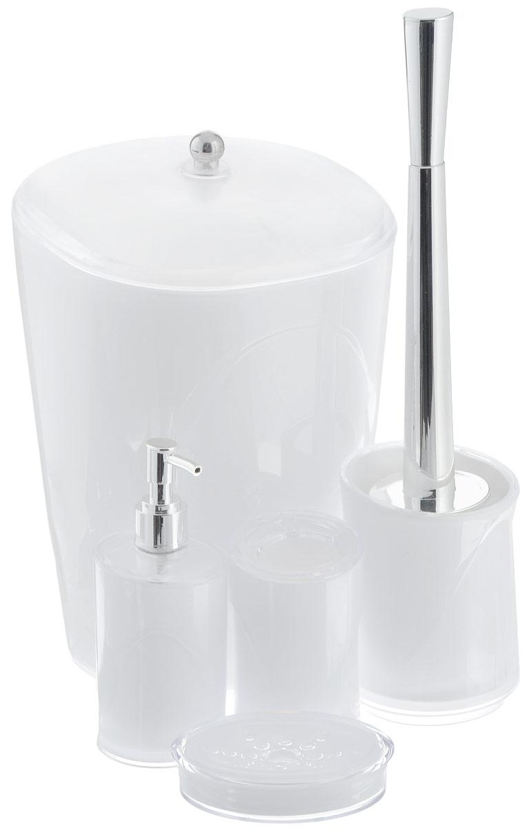 Набор для ванной комнаты Indecor, цвет: белый, 5 предметовIND034wНабор для ванной комнаты Indecor состоит из стакана для зубных щеток, дозатора для жидкого мыла, мыльницы, ершика и ведра с крышкой. Стакан, дозатор, мыльница, ершик и ведро изготовлены из высококачественного пластика. Аксессуары, входящие в набор Indecor, выполняют не только практическую, но и декоративную функцию. Они способны внести в помещение изысканность, сделать пребывание в нем приятным и даже незабываемым. Размер стакана для зубных щеток: 7 х 7 х 11 см. Объем стакана: 300 мл. Размер дозатора: 7 х 7 х 17,5 см. Объем дозатора: 300 мл. Размер мыльницы: 11,5 х 9 х 3 см. Длина ершика (с ручкой): 35 см. Размер подставки для ершика: 9,5 х 9,5 х 13 см. Размер ведра (без учета крышки): 20 х 20 х 26,5 см. Объем ведра: 5 л.