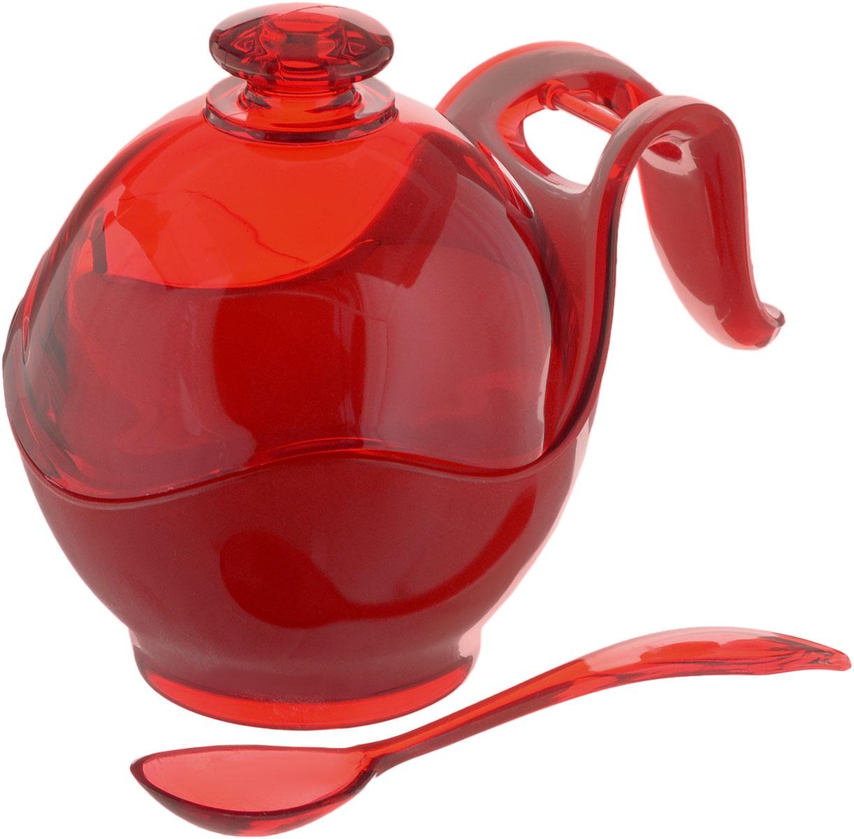 Сахарница Indecor, с ложкой, цвет: красный, белый. IND576IND576rСахарница Indecor изготовлена из пластика. Изделие выполнено в классическом стиле. Сахарница оснащена ручкой для удобной переноски и ложкой. Благодаря объемной крышки в ней удобно хранить рафинад. Сахарница Indecor станет незаменимым атрибутом любого чаепития, праздничного, вечернего или на открытом воздухе, а также подчеркнет ваш изысканный вкус. Размер сахарницы (по верхнему краю): 8 х 9,5 см. Ширина сахарницы (с учетом ручки): 14 см. Высота сахарницы (с учетом крышки): 11 см. Длина ложки: 13 см.