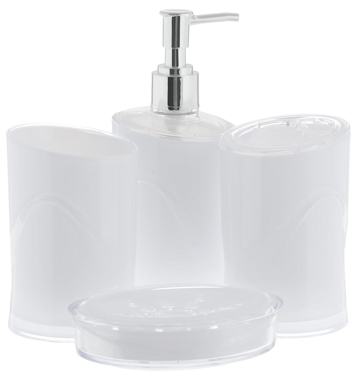 Набор для ванной комнаты Indecor, цвет: белый, 4 предметаIND053wНабор для ванной комнаты Indecor состоит из стакана, стакана для зубных щеток, дозатора для жидкого мыла и мыльницы. Стаканы, дозатор и мыльница изготовлены из высококачественного пластика. Аксессуары, входящие в набор Indecor, выполняют не только практическую, но и декоративную функцию. Они способны внести в помещение изысканность, сделать пребывание в нем приятным и даже незабываемым. Размер стаканов: 7 х 7 х 11 см. Объем стаканов: 300 мл. Размер дозатора: 7 х 7 х 17,5 см. Объем дозатора: 300 мл. Размер мыльницы: 11,5 х 9 х 3 см.
