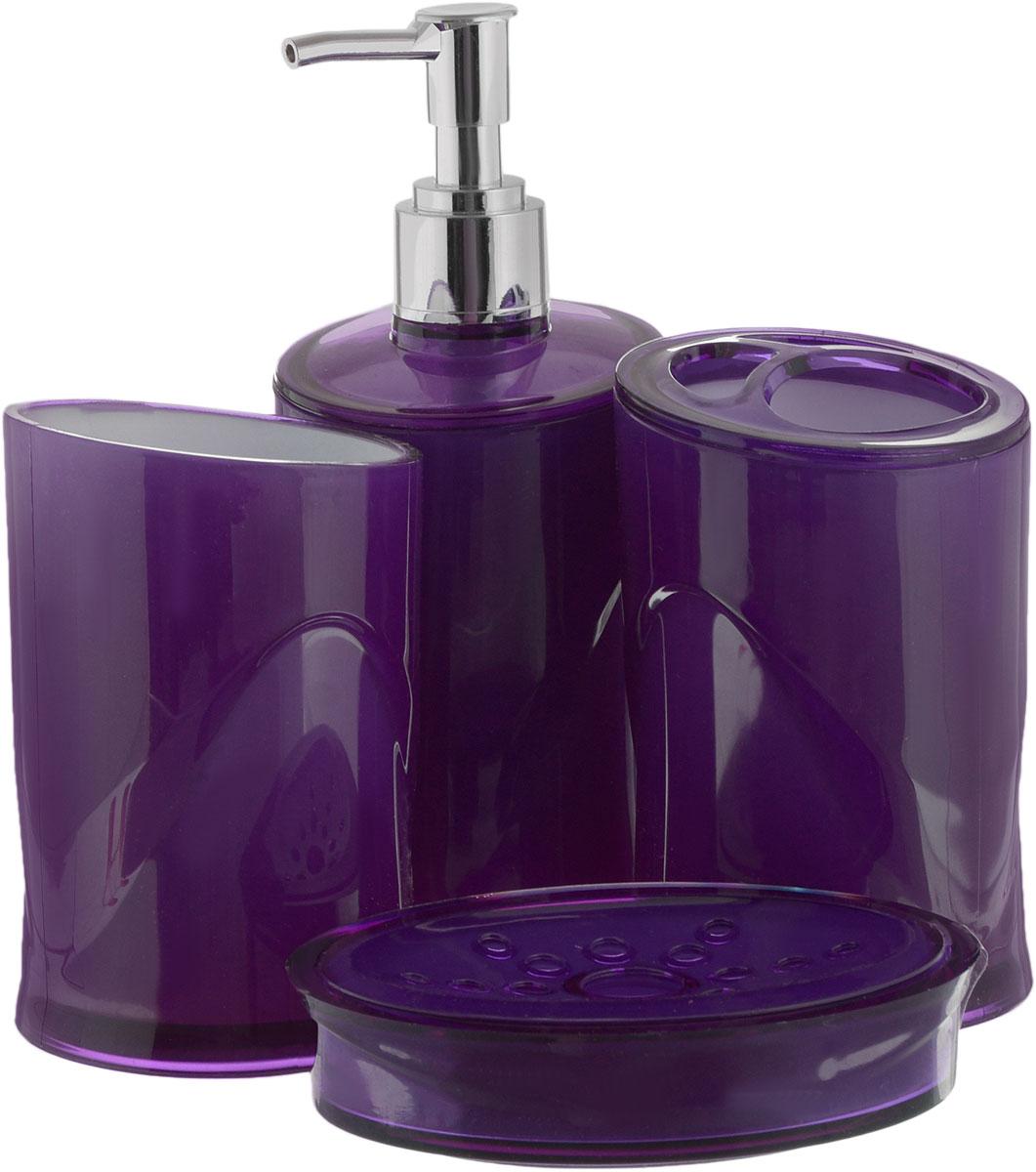 Набор для ванной комнаты Indecor, цвет: фиолетовый, 4 предметаIND053pНабор для ванной комнаты Indecor состоит из стакана, стакана для зубных щеток, дозатора для жидкого мыла и мыльницы. Стаканы, дозатор и мыльница изготовлены из высококачественного пластика. Аксессуары, входящие в набор Indecor, выполняют не только практическую, но и декоративную функцию. Они способны внести в помещение изысканность, сделать пребывание в нем приятным и даже незабываемым. Размер стаканов: 7 х 7 х 11 см. Объем стаканов: 300 мл. Размер дозатора: 7 х 7 х 17,5 см. Объем дозатора: 300 мл. Размер мыльницы: 11,5 х 9 х 3 см.