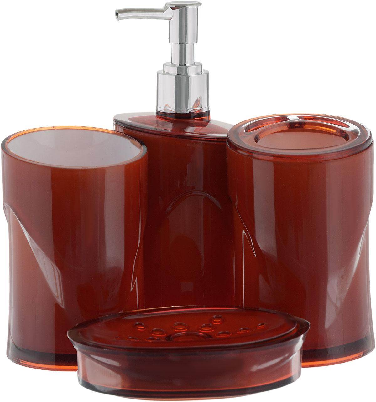 Набор для ванной комнаты Indecor, цвет: терракотовый, 4 предметаIND053cНабор для ванной комнаты Indecor состоит из стакана, стакана для зубных щеток, дозатора для жидкого мыла и мыльницы. Стаканы, дозатор и мыльница изготовлены из высококачественного пластика. Аксессуары, входящие в набор Indecor, выполняют не только практическую, но и декоративную функцию. Они способны внести в помещение изысканность, сделать пребывание в нем приятным и даже незабываемым. Размер стаканов: 7 х 7 х 11 см. Объем стаканов: 300 мл. Размер дозатора: 7 х 7 х 17,5 см. Объем дозатора: 300 мл. Размер мыльницы: 11,5 х 9 х 3 см.