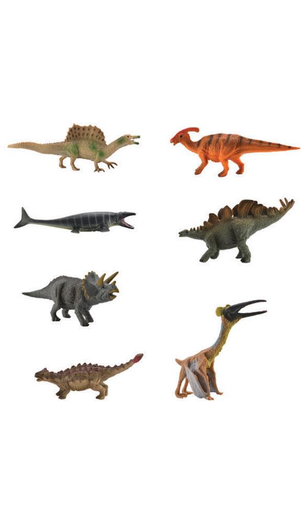 Collecta Набор фигурок Динозавры 7 шт A1133A1133Набор фигурок Collecta Динозавры познакомит вашего ребенка с окружающим миром. В набор входят семь фигурок динозавров (кетцалькоатль, анкилозавр, паразауролоф, стегозавр, трицератопс, спинозавр, мозазавр), которые имеют высокую степень сходства с настоящими животными и высокую детализацию, что позволяет использовать фигурки не только как игровые, но и как коллекционные. Фигурки изготовлены из качественного материала, не токсичны и не вызывают аллергию.