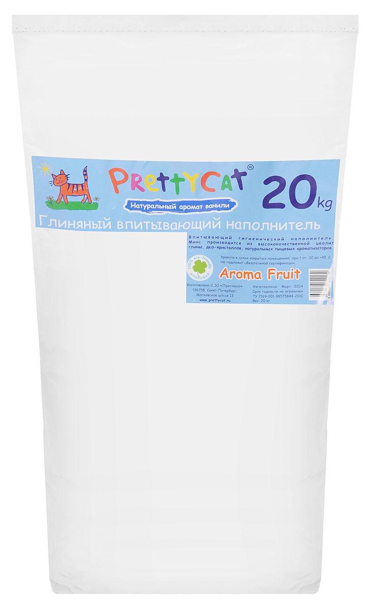 Наполнитель для кошачьих туалетов PrettyCat Aroma Fruit, с део-кристаллами, с ароматом ванили, 20 кг620130Наполнитель для кошачьих туалетов PrettyCat Aroma Fruit - это впитывающий глиняный наполнитель. Он изготовлен из высококачественной цеолит глины с део-кристаллами и натуральными пищевыми арома-маслами. Это абсолютно экологически чистый продукт. Натуральный пищевой ароматизатор с ароматом ванили безопасен для вашей кошки. От ее лапок всегда будет вкусно пахнуть ванилью. Глиняные гранулы прекрасно впитывают жидкость, предотвращая размножение бактерий и появление пыли. Особые део-кристаллы устраняют запах, оставляя только нежный аромат. Впитывающий глиняный наполнитель нравится абсолютно всем кошкам и их хозяевам. Вес 20 кг. Состав: цеолит глина, део-кристаллы, арома-масла. Товар сертифицирован.