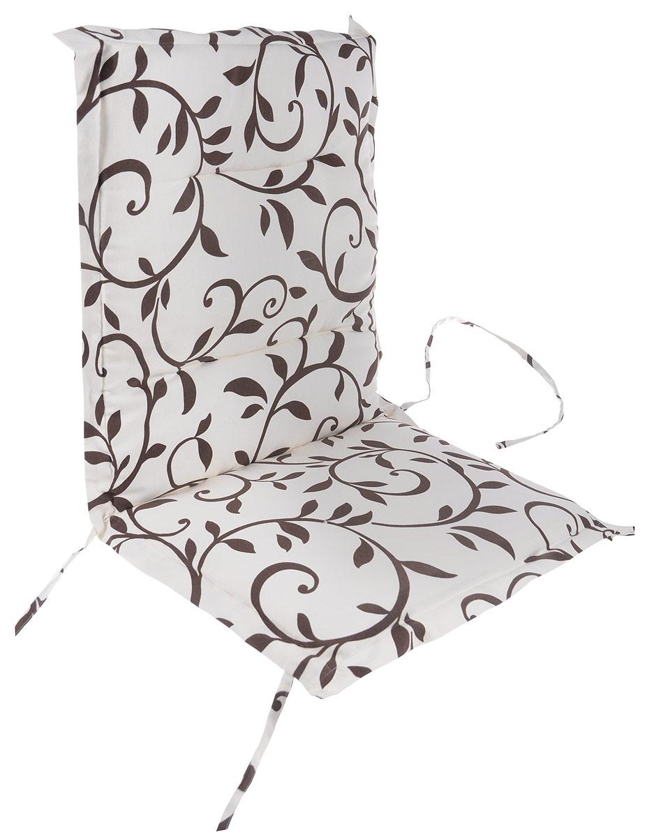 Подушка на стул KauffOrt Лоза, со спинкой, 50 x 100 см3125224100Подушка на стул KauffOrt Лоза не только красиво дополнит интерьер кухни, но и обеспечит комфорт при сидении. Чехол выполнен из поликоттона (хлопок и полиэстер) и украшен принтом. Внутри - мягкий наполнитель из поролона. Подушка легко крепится на стул с помощью завязок и резинки. Правильно сидеть - значит сохранить здоровье на долгие годы. Жесткие сидения подвергают наше здоровье опасности. Подушка с мягким наполнителем поможет предотвратить многие беды, которыми грозит сидячий образ жизни.
