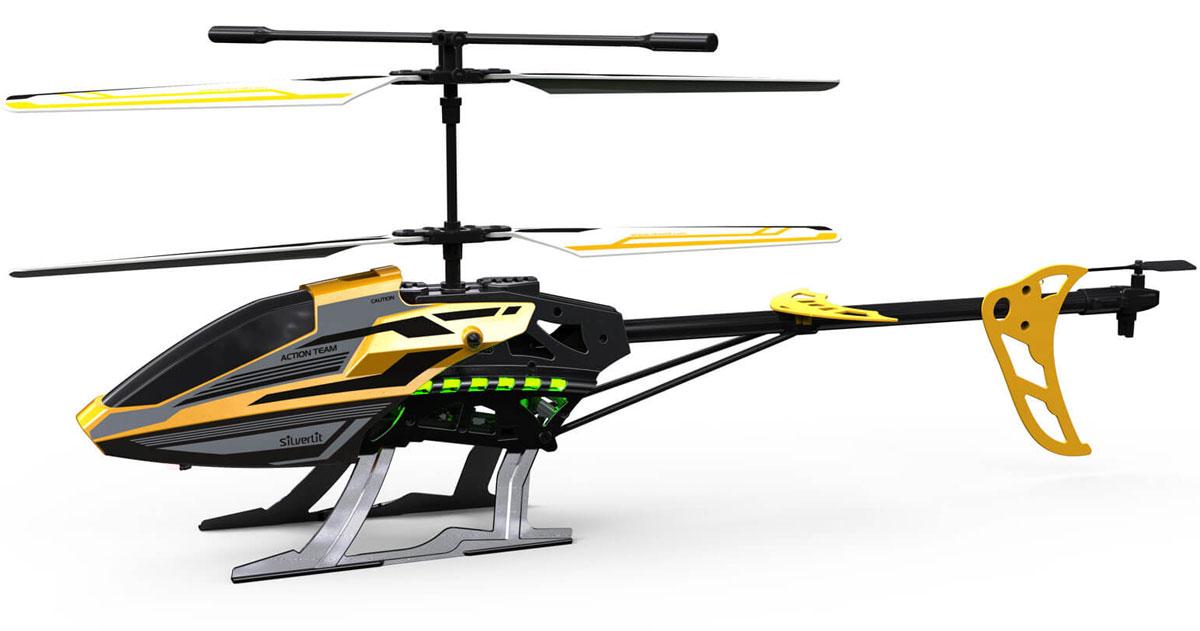 Silverlit Вертолет на радиоуправлении Sky Eagle III цвет черный желтый84750Вертолет на радиоуправлении Silverlit  Sky Eagle III с трехканальным управлением обязательно привлечет внимание вашего ребенка. С игрушкой можно играть и на улице, если безветренная погода, и в закрытом помещении. Встроенный гироскоп позволяет воздушному судну отлично маневрировать. Управление игрушкой происходит с помощью удобного пульта. Вертолет может летать вверх-вниз, вперед-назад, поворачивать налево и направо. Пульт управления работает на частоте 2,4 GHz, а дальность его действия составляет 25 метров. Игрушка развивает многочисленные способности ребенка - мелкую моторику, пространственное мышление, реакцию и логику. Вертолет работает от сменного аккумулятора (входит в комплект). Аккумулятор заряжается при помощи USB-шнура (входит в комплект). Время зарядка около 40 минут. Для работы пульта управления необходимо купить 4 батарейки напряжением 1,5V типа АА (в комплект не входят).