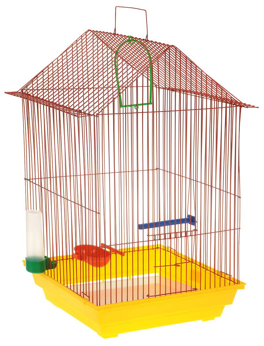 Клетка для птиц ЗооМарк, цвет: желтый поддон, красная решетка, 34 x 28 х 54 см430ЖККлетка ЗооМарк, выполненная из полипропилена и металла с эмалированным покрытием, предназначена для мелких птиц. Изделие состоит из большого поддона и решетки. Клетка снабжена металлической дверцей. В основании клетки находится малый поддон. Клетка удобна в использовании и легко чистится. Она оснащена жердочкой, кольцом для птицы, поилкой, кормушкой и подвижной ручкой для удобной переноски. Комплектация: - клетка с поддоном, - малый поддон; - поилка; - кормушка; - кольцо. Размер клетки: 34 x 28 х 54 см.