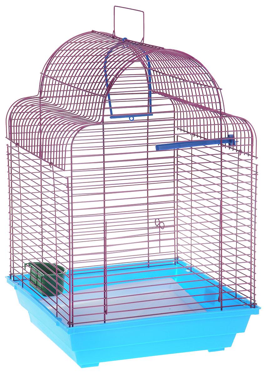 Клетка для птиц ЗооМарк Купола, цвет: синий поддон, фиолетовая решетка, 35 х 29 х 51 см460СФКлетка ЗооМарк Купола, выполненная из полипропилена и металла, предназначена для мелких птиц. Изделие состоит из большого поддона и решетки. Клетка снабжена металлической дверцей. В основании клетки находится малый поддон. Клетка удобна в использовании и легко чистится. Она оснащена жердочкой, кольцом для птицы, кормушкой и подвижной ручкой для удобной переноски. Комплектация: - клетка с поддоном, - малый поддон; - кормушка; - кольцо; - жердочка.