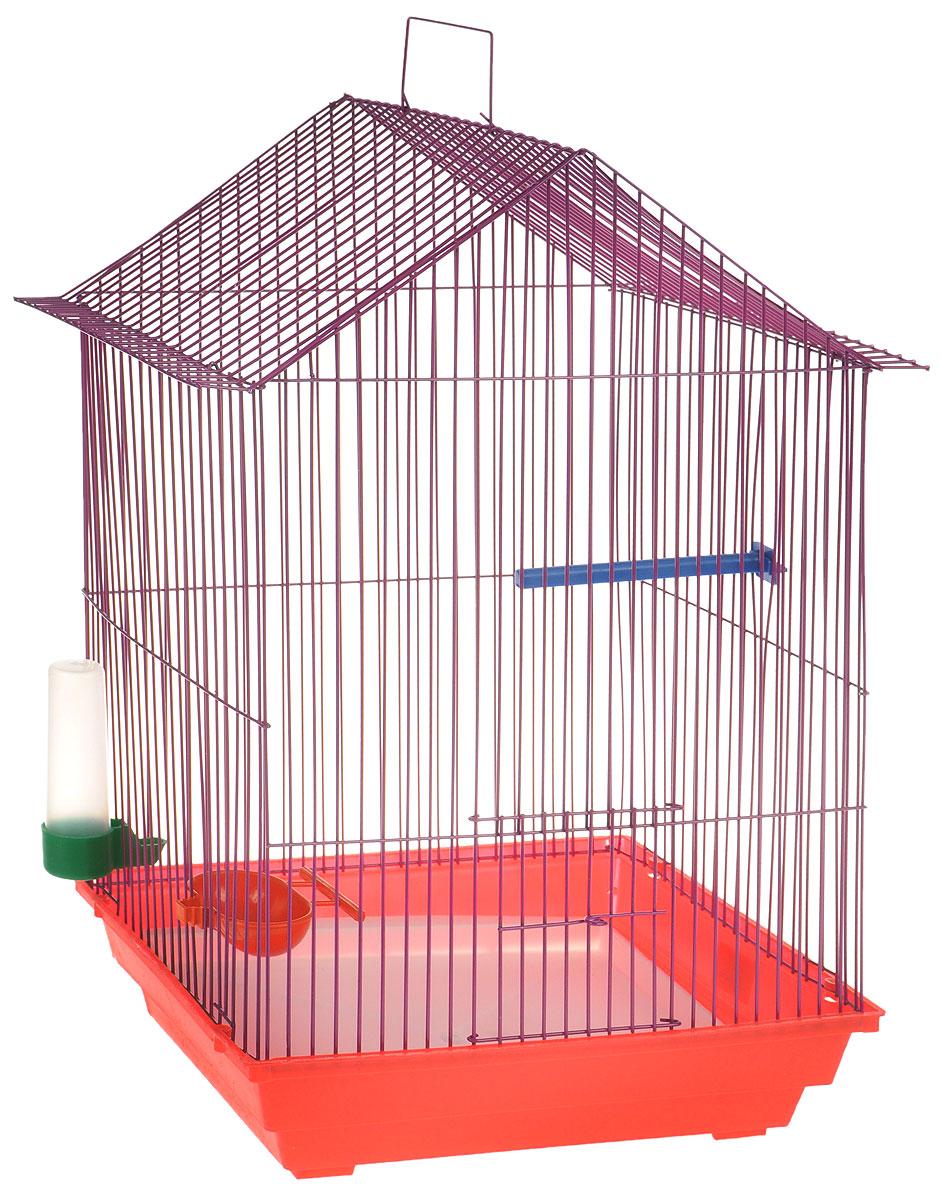 Клетка для птиц ЗооМарк, цвет: красный поддон, фиолетовая решетка, 34 x 28 х 54 см. 430КФ430КФКлетка ЗооМарк, выполненная из полипропилена и металла с эмалированным покрытием, предназначена для мелких птиц. Изделие состоит из большого поддона и решетки. Клетка снабжена металлической дверцей. В основании клетки находится малый поддон. Клетка удобна в использовании и легко чистится. Она оснащена жердочкой, кольцом для птицы, поилкой, кормушкой и подвижной ручкой для удобной переноски. Комплектация: - клетка с поддоном, - малый поддон; - поилка; - кормушка.