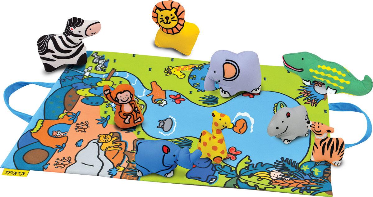 Ks Kids Развивающая игрушка Джунгли зовутKA744Развивающая игрушка Ks Kids Джунгли зовут вызовет интерес у каждого малыша. Играйте, учите названия и придумывайте захватывающие истории. Коврик превращается в удобную сумку для хранения и переноски (крепление на липучках). Каждая игрушка обладает развивающим элементом: текстурой, пищалкой, шуршалкой или погремушкой. Животные и коврик выполнены из качественного и безопасного материала, который можно стирать.