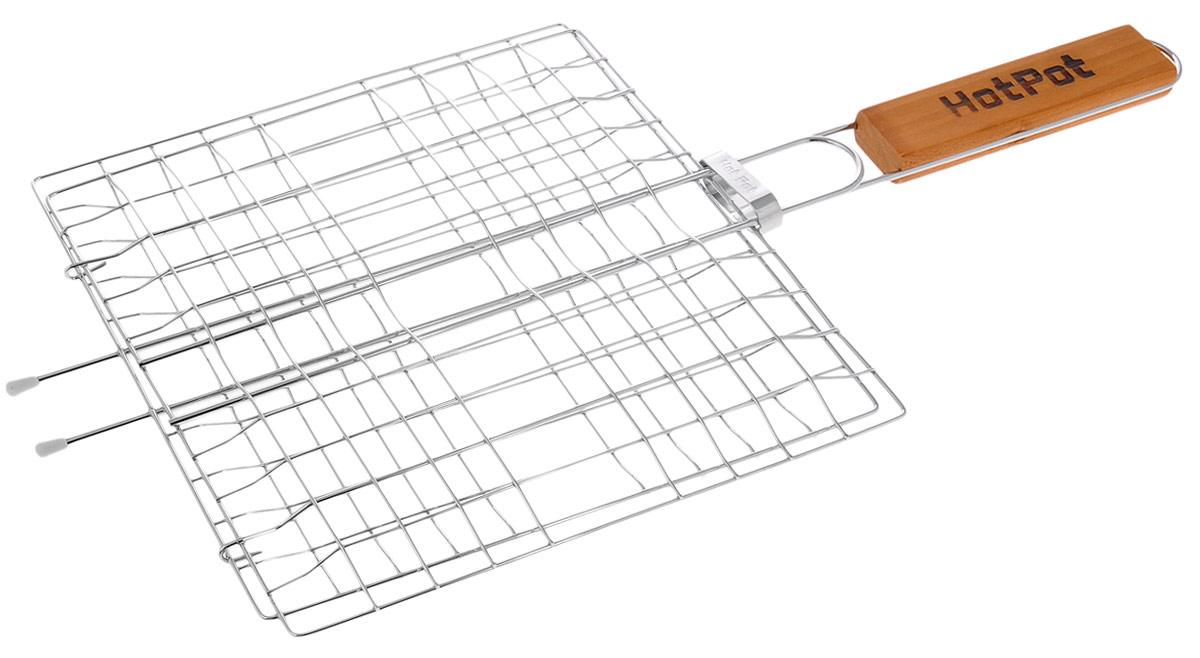 Решетка-гриль Hot Pot, универсальная, 23 х 2361336_23Универсальная решетка-гриль Hot Pot изготовлена из высококачественной стали. На решетке удобно размещать стейки, ребрышки, гамбургеры, сосиски, рыбу, овощи. Решетка предназначена для приготовления пищи на углях. Блюда получаются сочными, ароматными, с аппетитной специфической корочкой. Рукоятка изделия оснащена деревянной вставкой и фиксирующей скобой, которая зажимает створки решетки. Размер рабочей поверхности решетки (без учета усиков): 23 х 23 см. Общая длина решетки (с ручкой): 47,5 см.