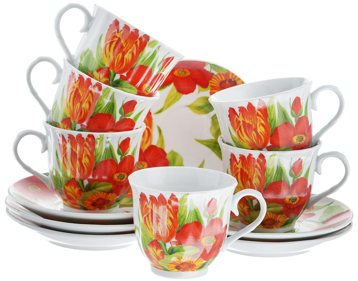 Набор чайный Bella, 12 предметов. DL-RF6-037DL-RF6-037Чайный набор Bella состоит из 6 чашек и 6 блюдец, изготовленных из высококачественного фарфора. Такой набор прекрасно дополнит сервировку стола к чаепитию, а также станет замечательным подарком для ваших друзей и близких. Объем чашки: 220 мл. Диаметр чашки (по верхнему краю): 8 см. Высота чашки: 7 см. Диаметр блюдца: 14 см. Высота блюдца: 2 см.