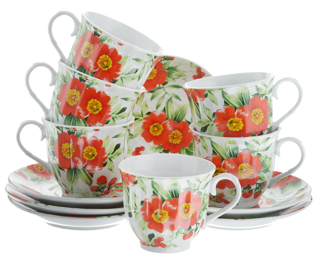 Набор чайный Bella, 12 предметов. DL-RF6-132DL-RF6-132Чайный набор Bella состоит из 6 чашек и 6 блюдец, изготовленных из высококачественного фарфора. Такой набор прекрасно дополнит сервировку стола к чаепитию, а также станет замечательным подарком для ваших друзей и близких. Объем чашки: 220 мл. Диаметр чашки (по верхнему краю): 8 см. Высота чашки: 7 см. Диаметр блюдца: 14 см. Высота блюдца: 2 см.