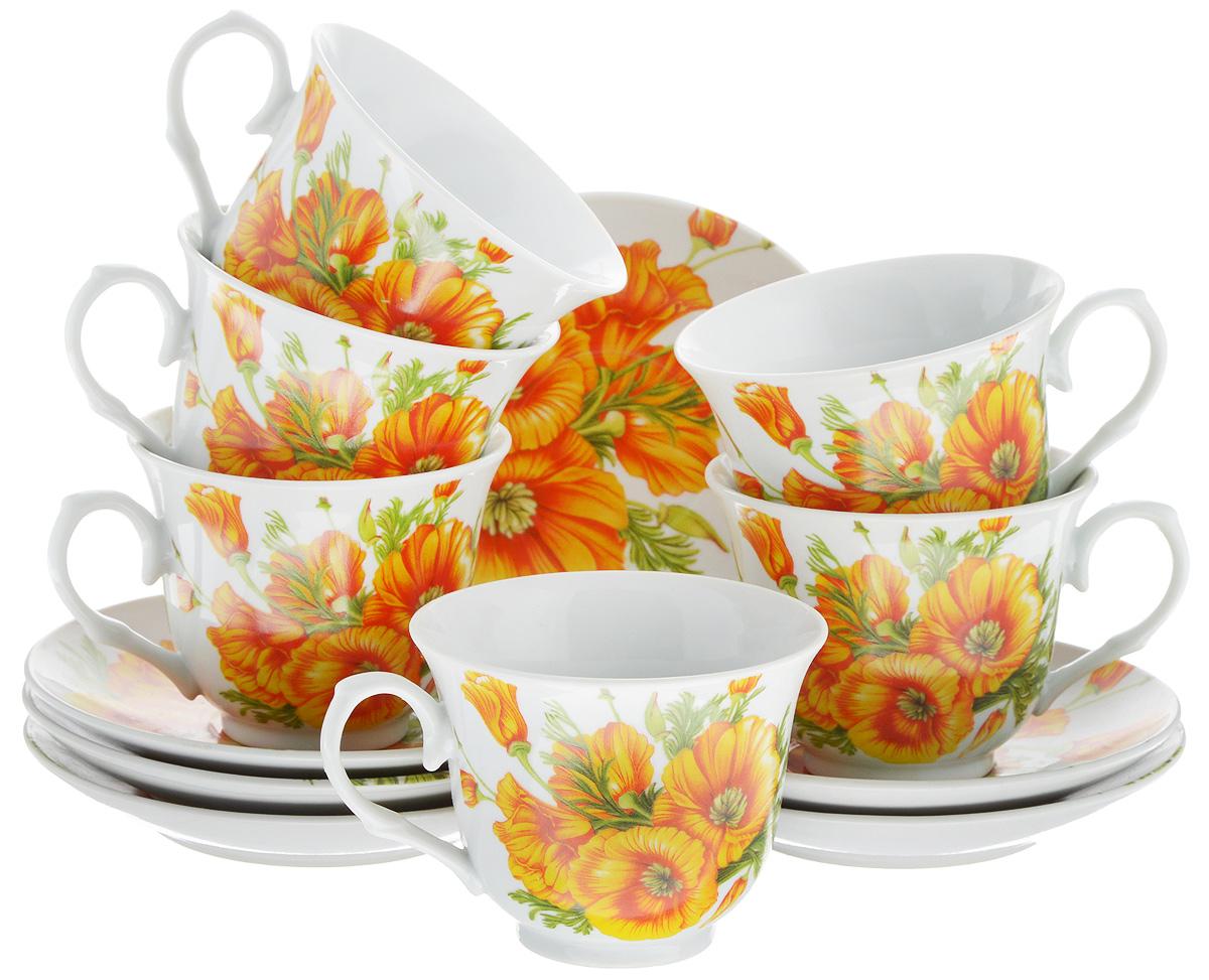 Набор чайный Bella, 12 предметов. DL-RP6-163DL-RP6-163Чайный набор Bella состоит из 6 чашек и 6 блюдец, изготовленных из высококачественного фарфора. Такой набор прекрасно дополнит сервировку стола к чаепитию, а также станет замечательным подарком для ваших друзей и близких. Объем чашки: 250 мл. Диаметр чашки (по верхнему краю): 9 см. Высота чашки: 7,5 см. Диаметр блюдца: 14 см. Высота блюдца: 2 см.