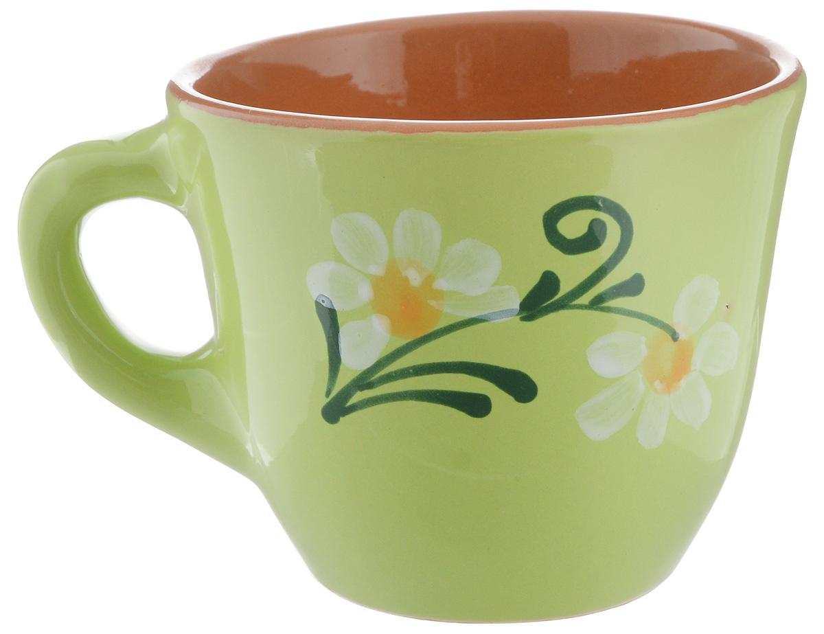 Чашка Борисовская керамика Стандарт, цвет: салатовый, 300 млОБЧ00000628_салатовыйУдобная чашка Борисовская керамика Стандарт предназначена для повседневного использования. Она выполнена из высококачественной керамики. Природные свойства этого материала позволяют долго сохранять температуру напитка, даже, если вы пьете что-то холодное. Внешние стенки чашки оформлены изображением цветка. Диаметр чашки (по верхнему краю): 10 см. Диаметр основания: 5,5 см. Высота чашки: 8,5 см.
