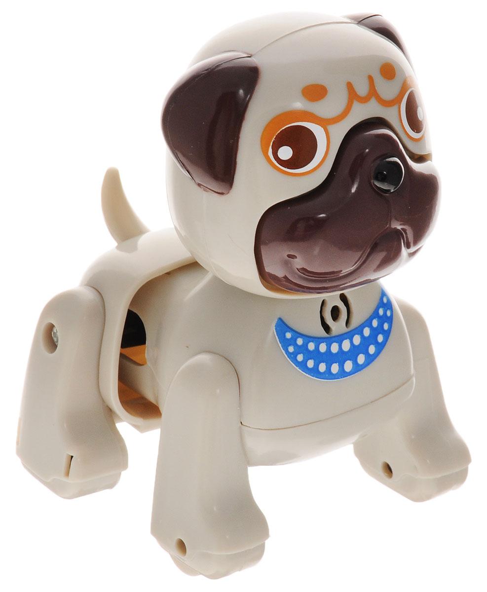 DigiFriends Интерактивная игрушка Щенок Мопс88477Интерактивная игрушка DigiFriends Щенок Мопс непременно станет близким другом вашего малыша. Щенок умеет делать множество вещей, присущих настоящим домашним питомцам, и даже чуть больше! Нужно поиграть с животным, чтобы активировать его: потрогать за голову, похлопать в ладоши или посвистеть. Щенок умеет самостоятельно ходить вперед и назад, издает приятные звуки и поет одну из встроенных песенок-мелодий. Во время передвижения задняя часть тела собачки раскачивается в ритме звучащих мелодий, а спинка шевелится подобно шерсти настоящего животного. Игрушка синхронизируется с LilPuppies и LilKittens. Создайте свою коллекцию интерактивных щенков различных пород! Игрушка изготовлена из высококачественного пластика, который не содержит вредных химических веществ. Рекомендуется докупить 3 батарейки напряжением 1,5V типа АG13 (товар комплектуется демонстрационными).