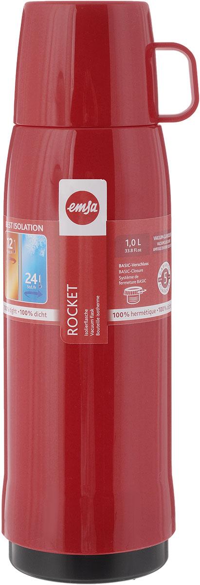 Термос Emsa Rocket, цвет: красный, 1 л. 502450502450Термос Emsa Rocket выполнен из прочного цветного пластика со стеклянной колбой. Термос прост в использовании и очень функционален. Оснащен герметичной завинчивающейся пробкой и крышкой, которую можно использовать в качестве кружки. Легкий и прочный термос Emsa Rocket сохранит ваши напитки горячими или холодными надолго. Высота (с учетом крышки): 32 см. Диаметр горлышка: 6,3 см. Диаметр дна: 9,5 см. Размер крышки (без учета ручки): 8 х 8 х 6,7 см. Сохранение холода: 24 ч. Сохранение тепла: 12 ч.