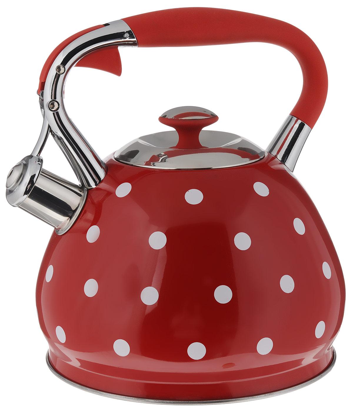 Чайник Hoffmann, со свистком, цвет: красный, 3,3 л. НМ 5529/1НМ 5529/1