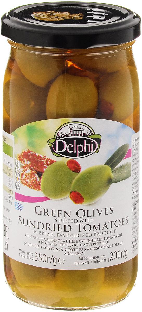 Delphi Оливки фаршированные сушеными томатами в рассоле, 350 г51.0004,1Зеленые оливки, начинены сушеными томатами. Зеленые оливки, собранные вручную на территории Северной и Центральной Греции, начинены сладкими томатами, которые созрели и были высушены под ярким средиземноморским солнцем. Зеленые оливки, фаршированные сушеными томатами предлагают изысканную альтернативу классическим греческим зеленым оливкам. Прекрасно подходят для салатов и отдельно в качестве закуски.