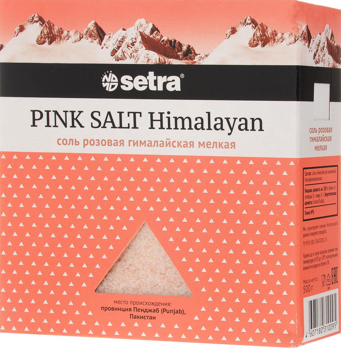 Setra соль розовая гималайская мелкая, 500 г бте007