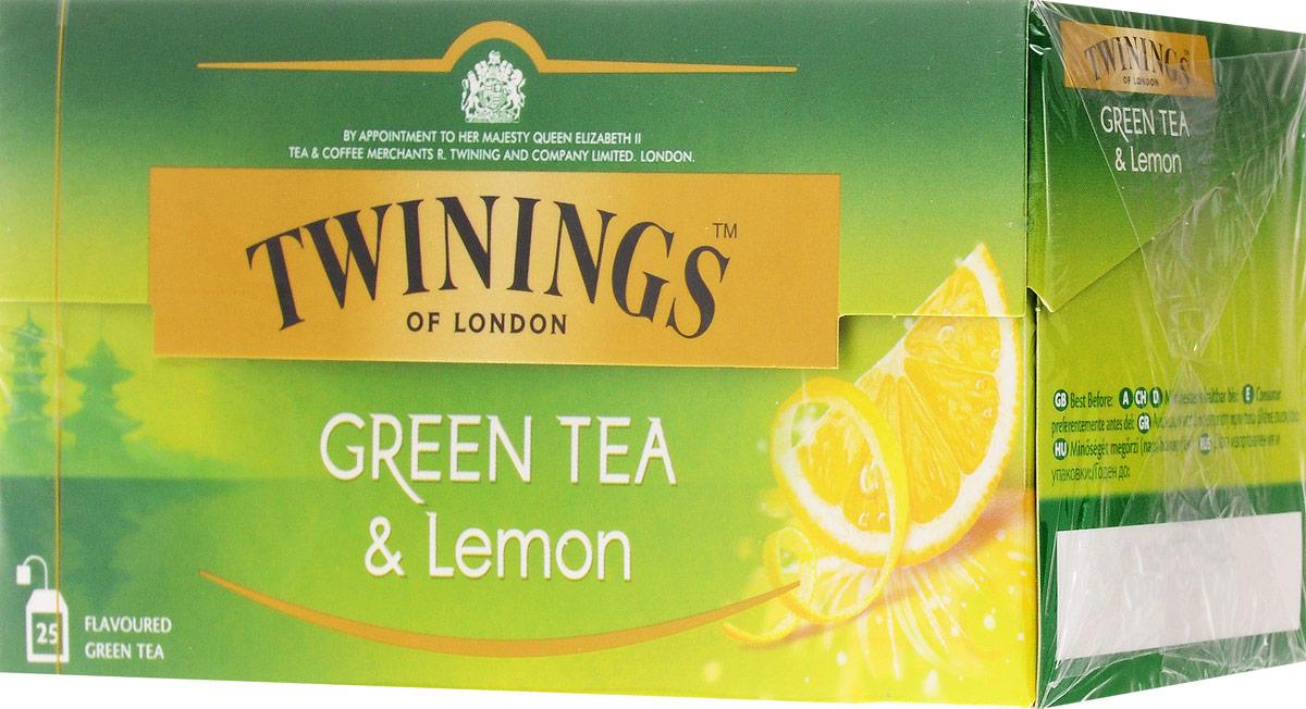 Twinings Green Tea & Lemon зеленый чай с цедрой лимона в пакетиках, 25 шт070177173159Twinings Green Tea & Lemon - зеленый чай с кусочками лимона. Естественные смеси зеленого чая утолят жажду и придадут бодрость в любое время года. Уважаемые клиенты! Обращаем ваше внимание на то, что упаковка может иметь несколько видов дизайна. Поставка осуществляется в зависимости от наличия на складе.