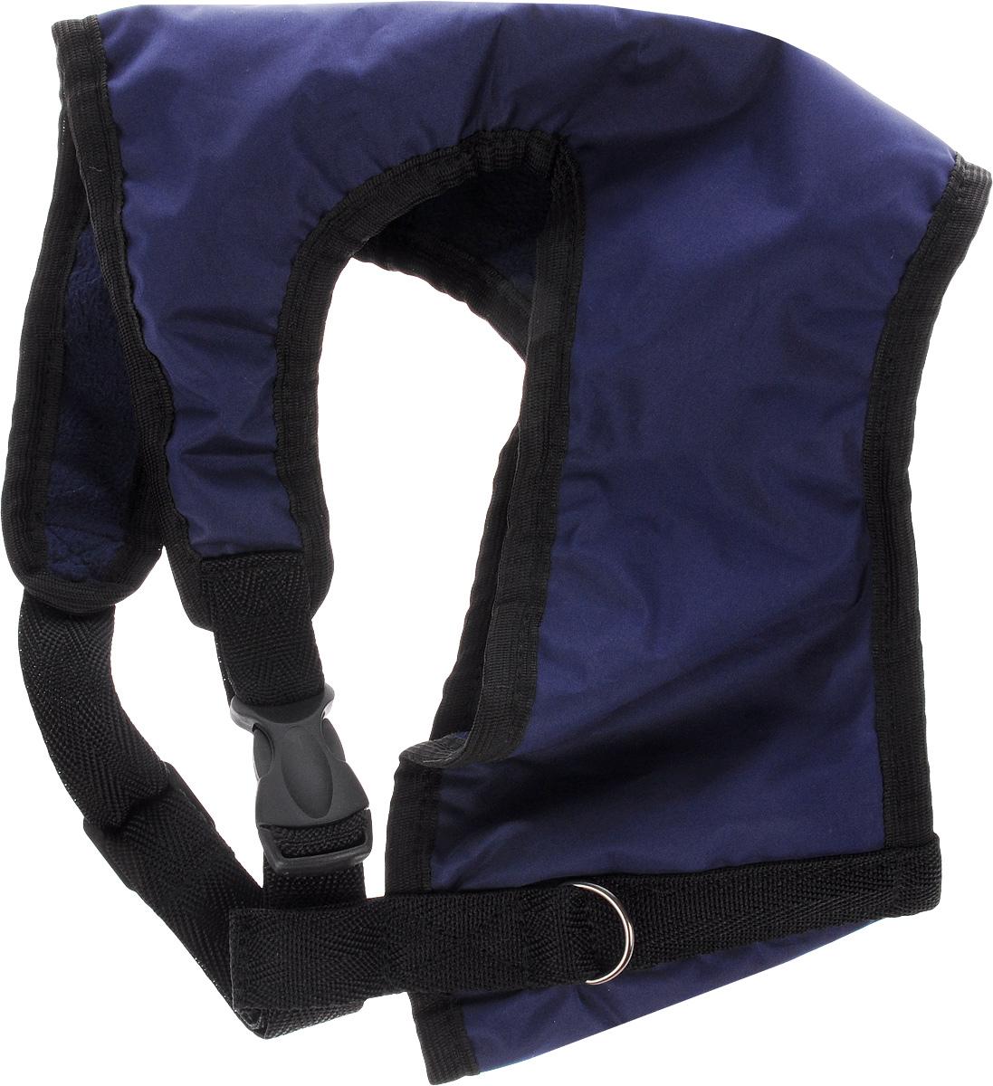 Шлейка для собак ЗооМарк, цвет: синий, черный. Размер 3Ш-3_синий, черныйШлейка для собак ЗооМарк выполнена из оксфорда, а на подкладке используется флис. Изделие оснащено специальным крючком, к которому вы с легкостью сможете прикрепить поводок. Шлейка имеет застежку фастекс и регулируется при помощи пряжки. Шлейка - это альтернатива ошейнику. Правильно подобранная шлейка не стесняет движения питомца, не натирает кожу, поэтому животное чувствует себя в ней уверенно и комфортно. Изделие отличается высоким качеством, удобством и универсальностью. Обхват груди: 25-30 см. Длина спинки: 17 см. Ширина ремней: 2 см.