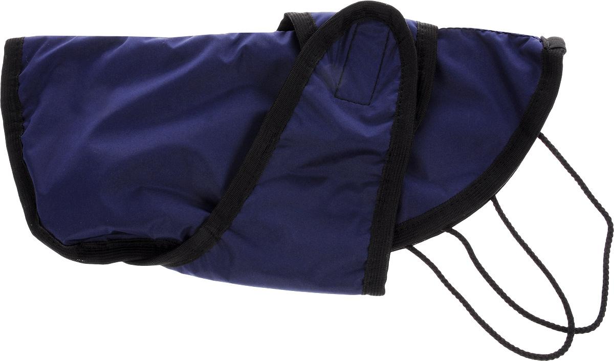 Попона для собак ЗооМарк, цвет: синий, черный. Размер 1П-1_синий, черныйПопона для собак ЗооМарк отлично подойдет для прогулок в прохладное время года. Попона изготовлена из плащевки, защищающая от ветра и осадков, а на подкладке используется флис, который отлично сохраняет тепло и обеспечивает воздухообмен. Попона оснащена веревочками-прорезями для ног и застегивается на липучку. Ворот оснащен резинкой, благодаря чему ее легко надевать и снимать. Благодаря такой попоне питомцу будет тепло и комфортно в любое время года.