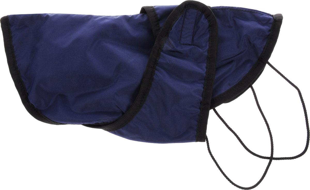 Попона для собак ЗооМарк, цвет: синий, черный. Размер 2П-2_синий, черныйПопона для собак ЗооМарк отлично подойдет для прогулок в прохладное время года. Попона изготовлена из плащевки, защищающая от ветра и осадков, а на подкладке используется флис, который отлично сохраняет тепло и обеспечивает воздухообмен. Попона оснащена веревочками-прорезями для ног и застегивается на липучку. Ворот оснащен резинкой, благодаря чему ее легко надевать и снимать. Благодаря такой попоне питомцу будет тепло и комфортно в любое время года.