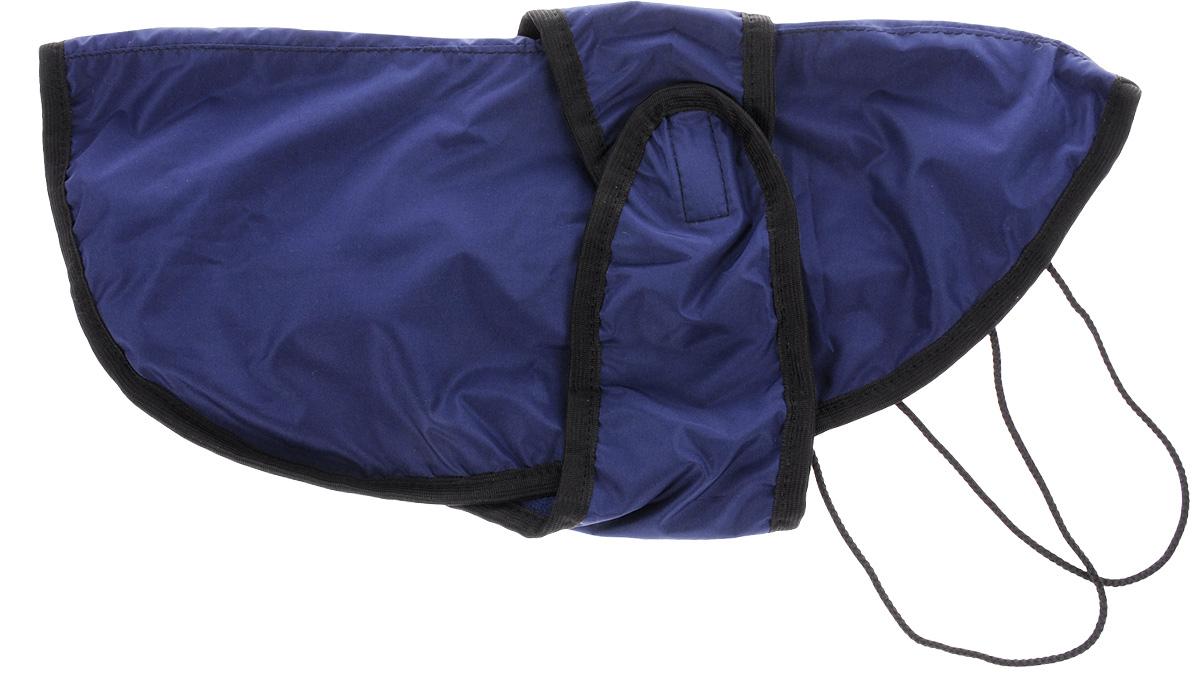 Попона для собак ЗооМарк, цвет: синий, черный. Размер 3П-3_синий, черныйПопона для собак ЗооМарк отлично подойдет для прогулок в прохладное время года. Попона изготовлена из плащевки, защищающая от ветра и осадков, а на подкладке используется флис, который отлично сохраняет тепло и обеспечивает воздухообмен. Попона оснащена веревочками-прорезями для ног и застегивается на липучку. Ворот оснащен резинкой, благодаря чему ее легко надевать и снимать. Благодаря такой попоне питомцу будет тепло и комфортно в любое время года.