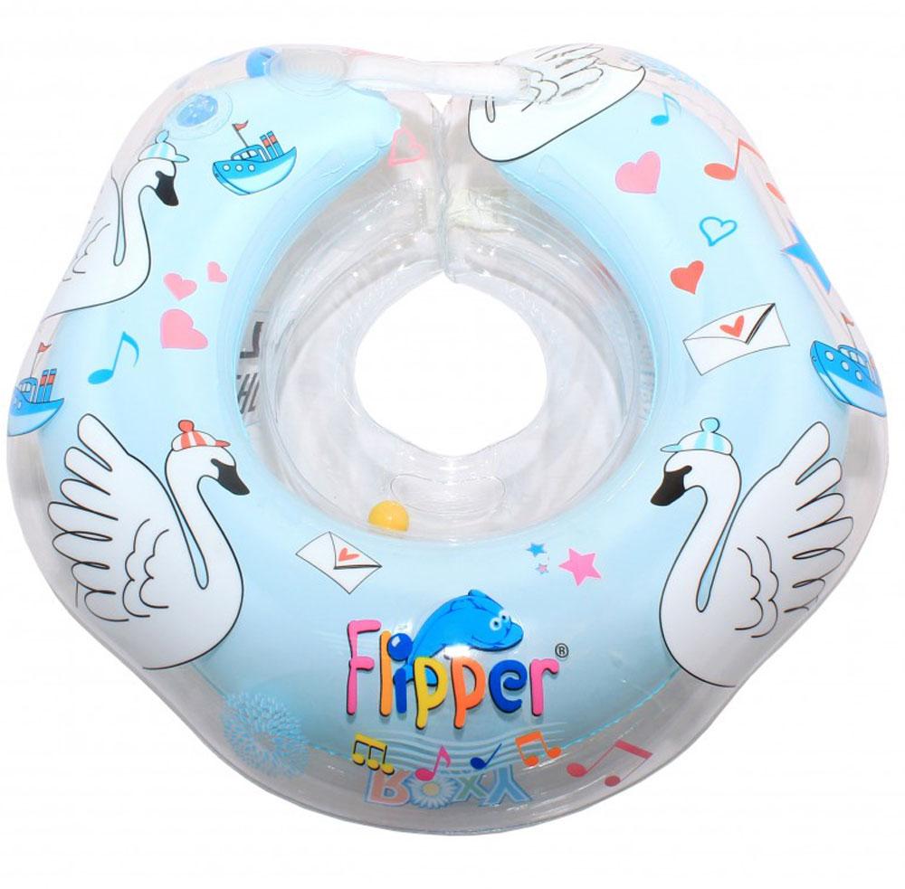 Roxy-kids Круг музыкальный на шею для купания Flipper Лебединое озеро цвет голубой