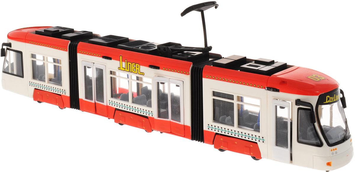 Dickie Toys Трамвай City Liner цвет белый красный3829000_белый, красныйГородской трамвай Dickie Toys City Liner привлечет внимание вашего ребенка и не позволит ему скучать. Игрушка является уменьшенной копией настоящего трамвая с гибкой гармошкой. Трамвай оснащен открывающимися с помощью колесиков дверьми, поднимающимся полупантографом и колесами со свободным ходом. Внутри салона расположены ряды пассажирских кресел. Остается только подобрать фигурки, подходящие по размеру, - и можно отправляться в увлекательное путешествие! Ваш ребенок будет часами играть с трамваем, воспроизводя различные истории из городской жизни. Порадуйте его таким замечательным подарком!